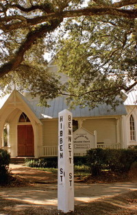 Historic Hibben Street sign post in Mount Pleasant, SC